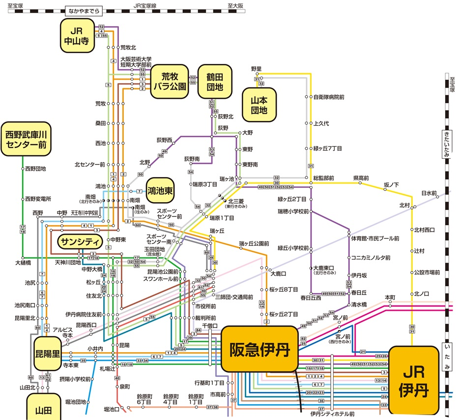 伊丹市営バス路線図