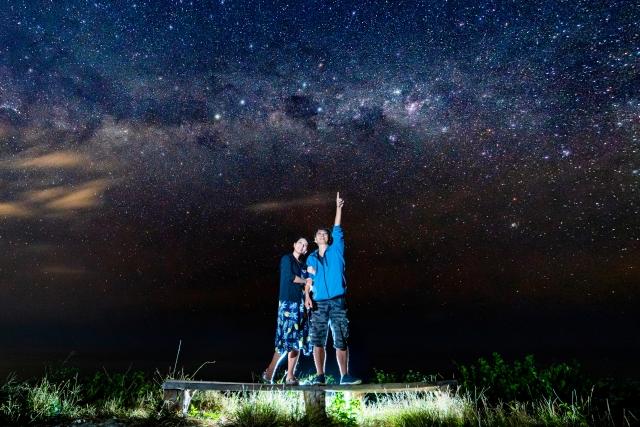 星空を指さす男性と女性