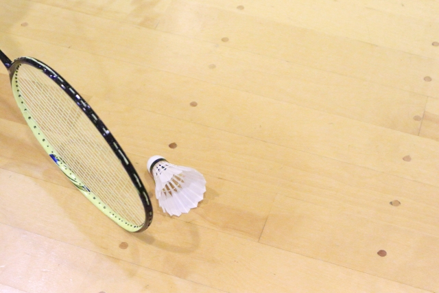 バドミントンのラケットと羽