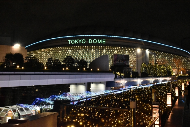 夜の東京ドームとネオン